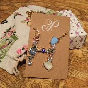 Gorgeous Plunder initial H gem stone necklace
